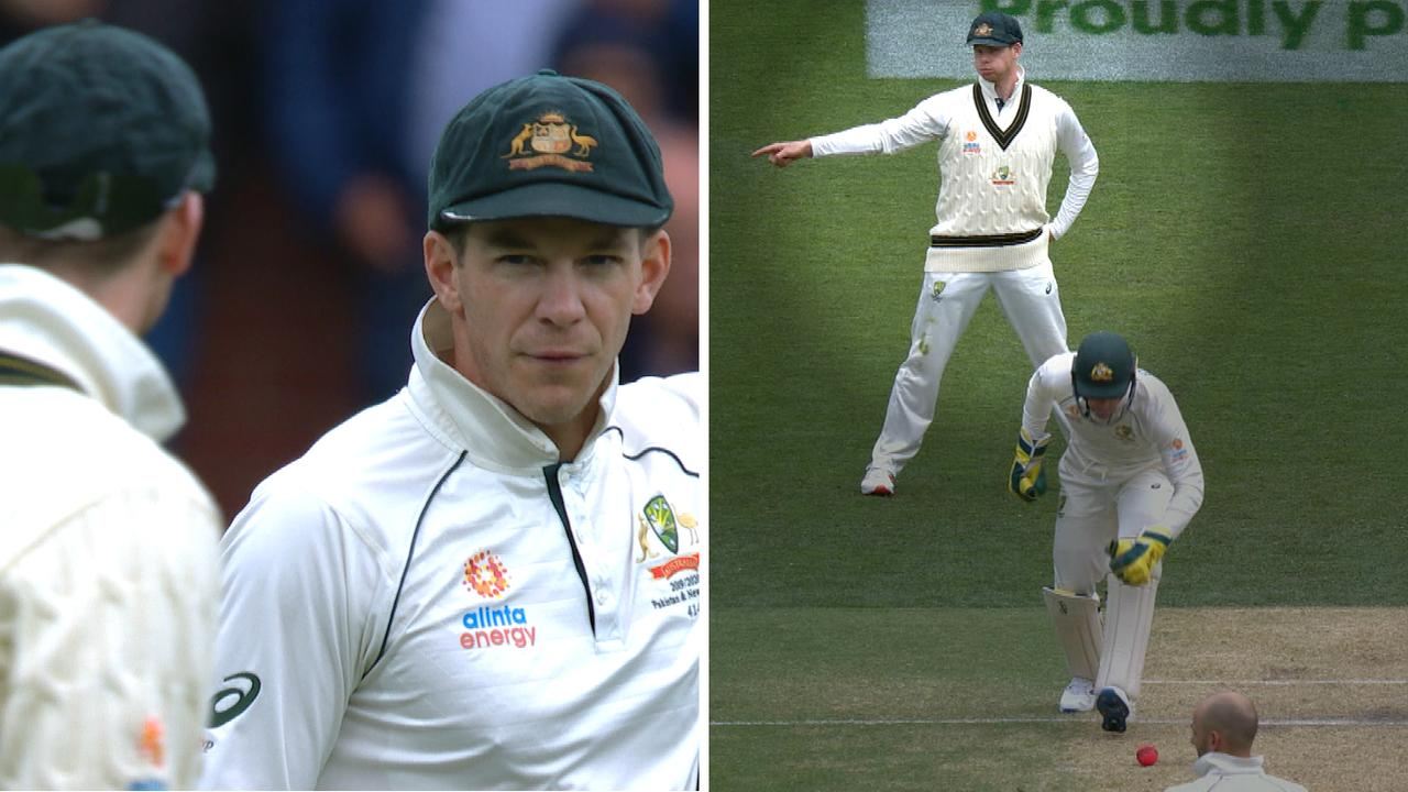 Smith and Paine had an animated discussion before Smith made extra fielding adjustments.