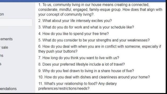 The list of demanding questions for a Sydney sharehouse.
