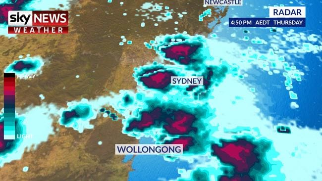 Graphic of the huge updrafts that caused Thursday's oddly shaped hail over Sydney and other areas of NSW. Picture: Sky News Weather