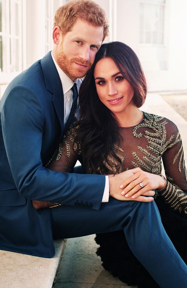 Prince Harry posing with then fiance Meghan Markle at Frogmore House in Windsor in one of three official engagement photos. Picture: AFP/Alexi Lubomirski