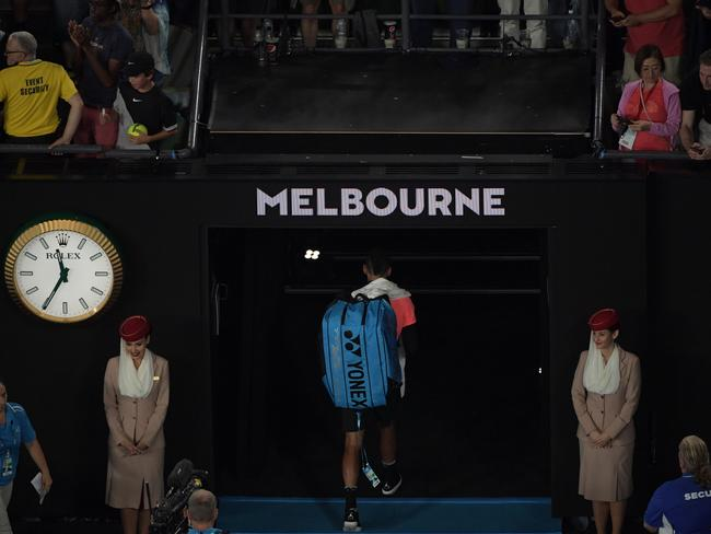 Nick Kyrgios leaves after his loss to Grigor Dimitrov. (AAP Image/Tracey Nearmy)