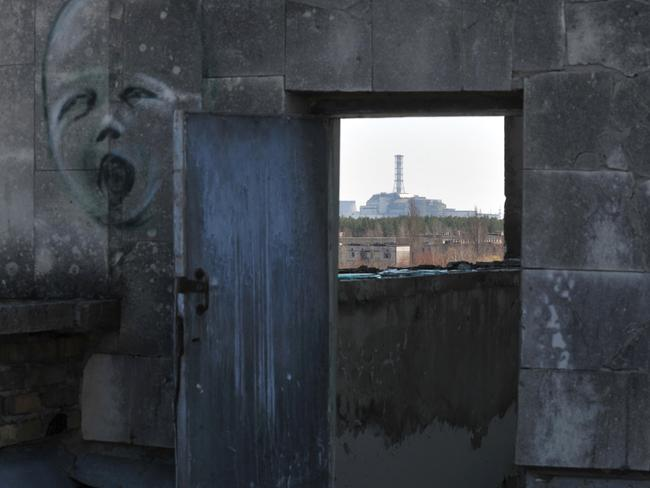 A view of the 4th power block of the Chernobyl Nuclear Power Plant. Chernobyl's radiation monitoring system was affected by a cyber attack. Picture: Sergei Supinsky/AFP