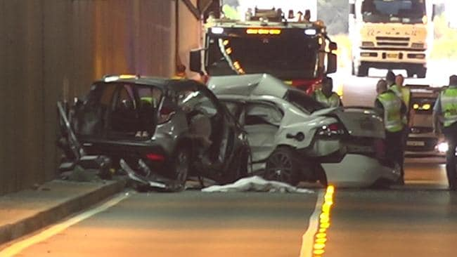 One person died and three were seriously injured in a crash which has blocked the airport tunnel on General Holmes Drive southbound Thursday morning. Picture: TNV