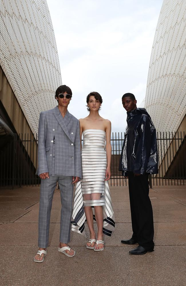 Models pose during the Mercedes-Benz Presents Dion Lee show at Mercedes-Benz Fashion Week Resort 18 Collections at the Sydney Opera House. Picture: Cole Bennetts
