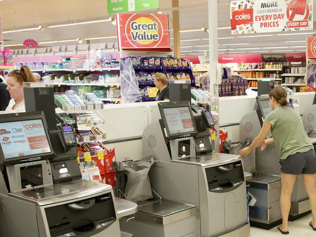 Coles is trialling the 12-item only restriction on self-scanning check-outs at a small number of stores. Picture: Mark Scott.