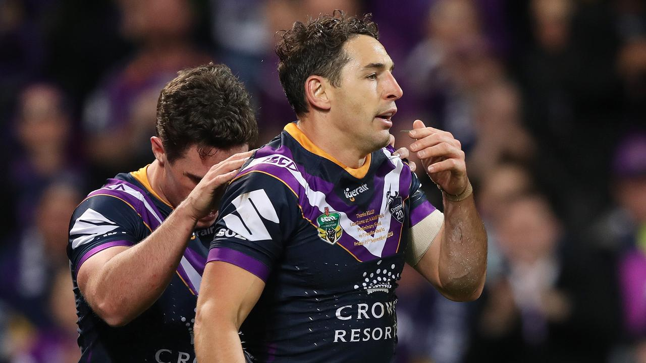 Melbourne star Billy Slater is likely to miss the grand final for a shoulder charge. Picture: Brett Costello