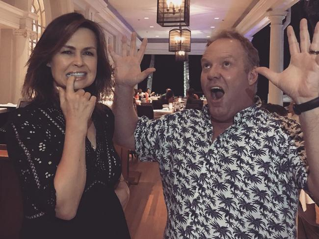 Peter Helliar with Lisa Wilkinson in Hawaii.