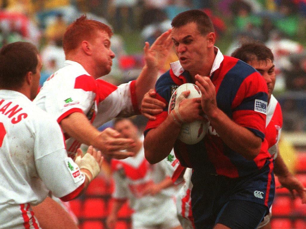 RL player Paul Harragon (ball) during 1997 ARL match Newcastle Knights v St (Saint) George at Marathon Stadium 09/03/97  Rugby League A/CT