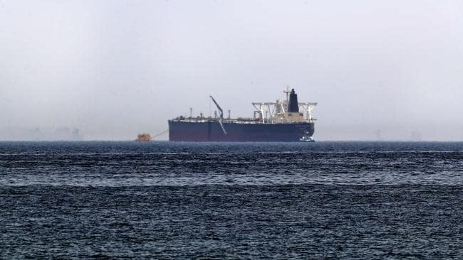 "Crude oil tanker, Amjad, which was one of two reported tankers that were damaged in mysterious ""sabotage attacks"", off the coast of the Gulf emirate of Fujairah. Picture: Karim Sahib/AFP"