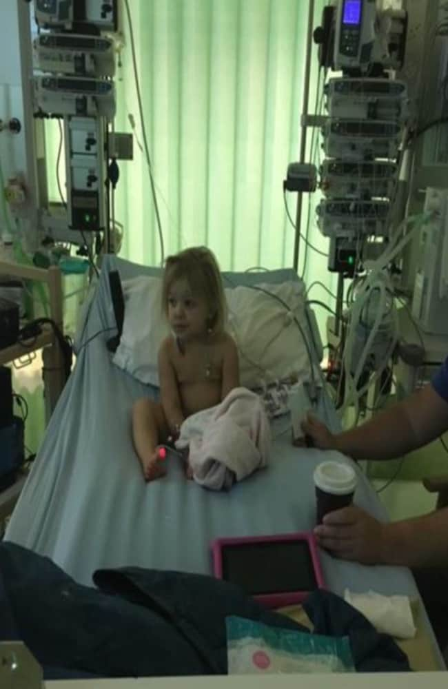 Daisie-Rae spent three weeks on dialysis hooked up to a room full of machines. Picture: Keelie Averill
