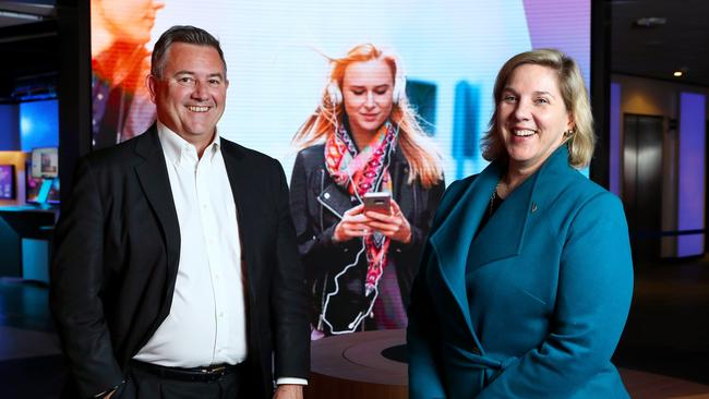 Telstra's group managing director of networks, Mark Wright, with chief operating officer, Robyn Denholm, at their Sydney offices. (Hollie Adams/The Australian)