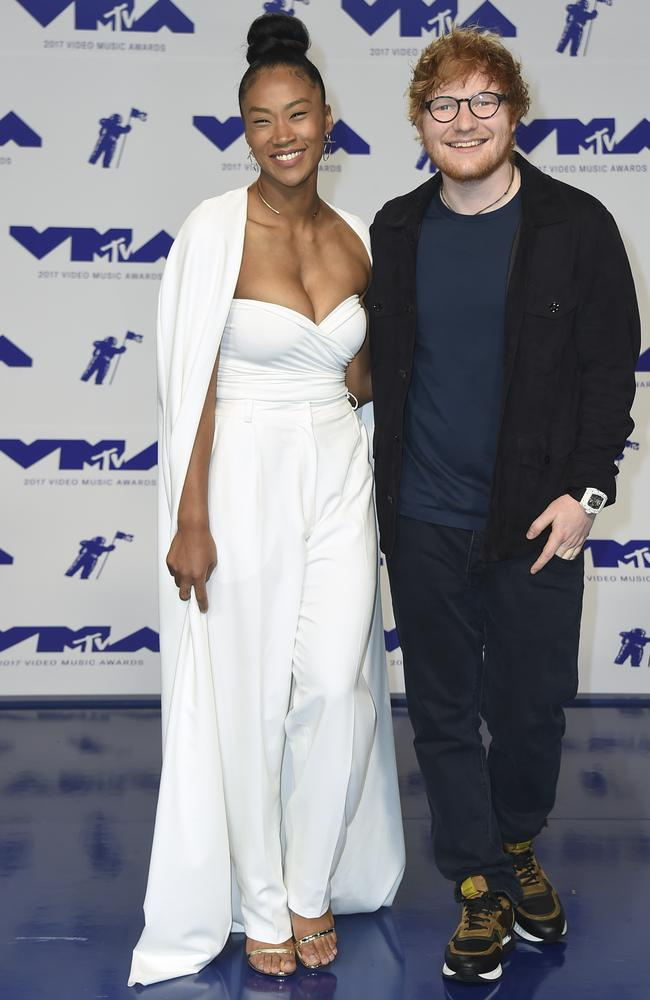 Jennie Pegouskie and Ed Sheeran. Photo: Jordan Strauss/Invision/AP