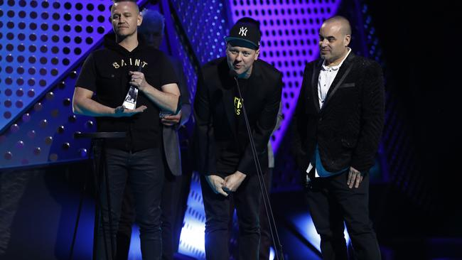 Hilltop Hoods accept the ARIA Award for Best Australian Live Act. Picture: Ryan Pierse/Getty