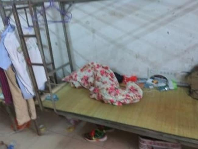 Factory workers sleep in squalid conditions. Picture: China Labour Watch