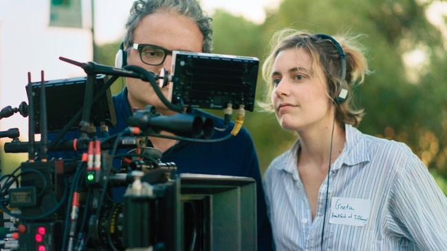 With cinematographer Sam Levy on the set of Lady Bird. Gerwig had worked with Levy on three previous films. Picture: A24/Merie Wallace
