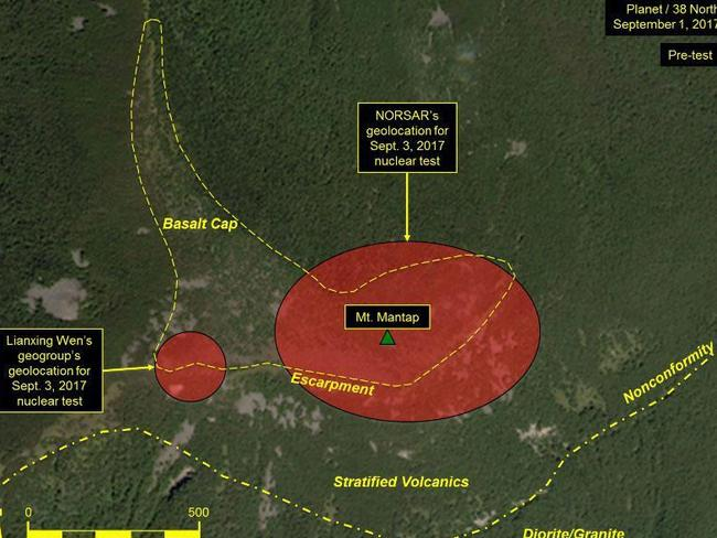Scientists have issued warnings over the Punggye-ri nuclear test site in recent weeks. Picture: Planet Labs Inc
