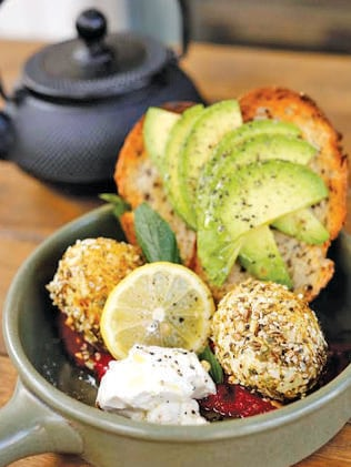 The Penny Royal's Dukka Eggs with homemade roast beetroot hummus, avocado and labneh.