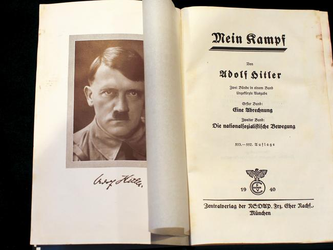 "Nazism ... A copy of Adolf Hitler's book ""Mein Kampf"" (My Struggle) from 1940 is pictured in Berlin, Germany. Picture: Reuters."