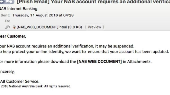 NAB users warned of new phishing scam