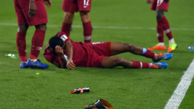 Objects were thrown on to the pitch after the AFC Asian Cup semi final match between Qatar and United Arab Emirates. Picture: Getty Images