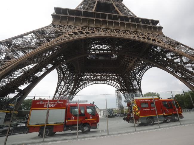 The Eiffel Tower was shut down after a man climbed the 324-metre-high structure. Picture: AP