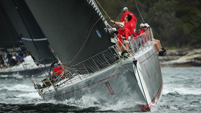 Wild Oats XI sails to victory during the Solas Big Boat Challenge this week. Pic: Brett Costello