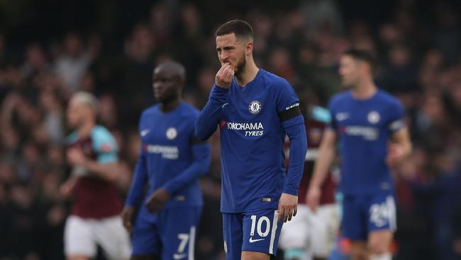 Chelsea's Belgian midfielder Eden Hazard reacts
