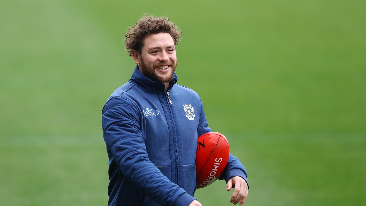 Jack Steven at Geelong training walking laps. Photo: Alison Wynd