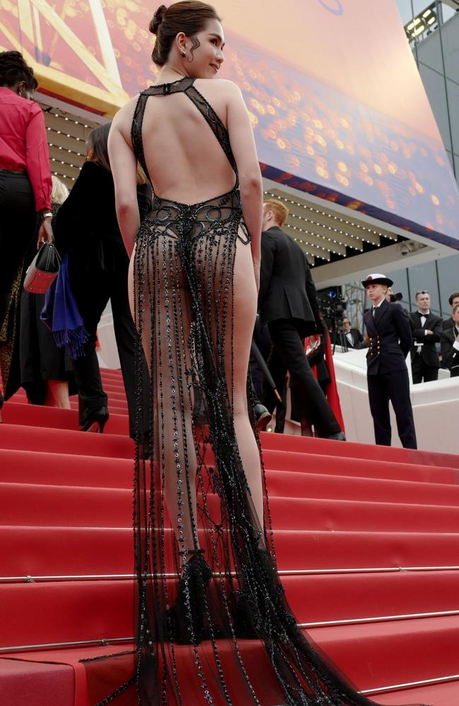 Vietnamese model Ngoc Trinh at the screening of the film A Hidden Life at the 72nd edition of the Cannes Film Festival in Cannes on May 19. Picture: Valery Hache/ AFP