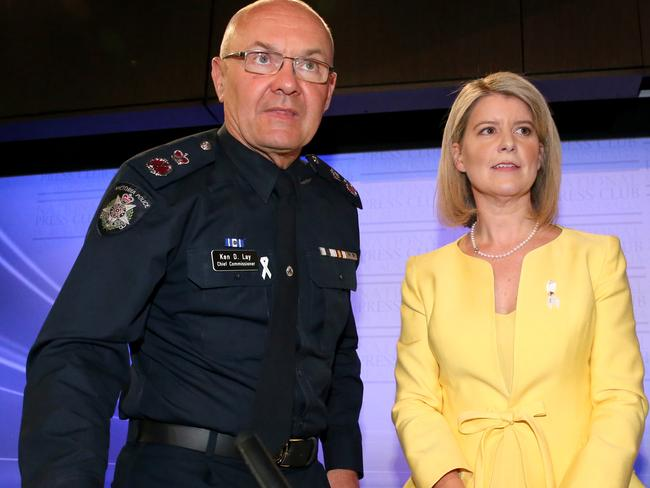 Partnership ... Natasha Stott Despoja, Chair of Foundation to Present Violence against Women and their Children and Ken Ley, Chief Commissioner of the Victorian Police, share the stage for today's address to the National Press Club in Canberra. Picture: News Corp Australia