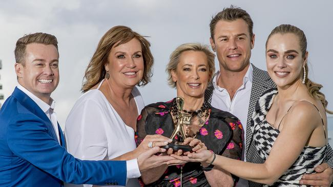 Gold Logie nominees Grant Denyer, Tracey Grimshaw, Amanda Keller, Rodger Corser and Jessica Marais. Picture: Jerad Williams