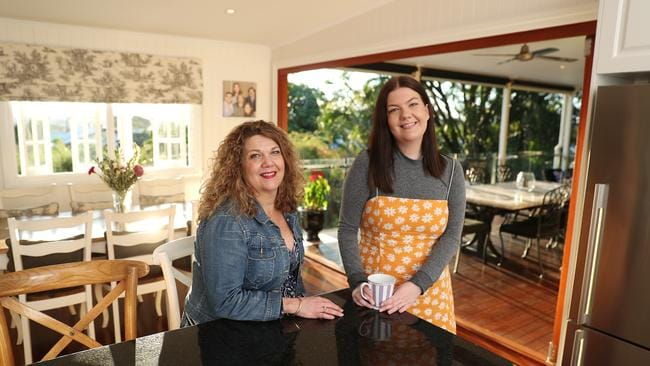 Natalie West with daughter Maddy West at their Camp Hill home. Pic Peter Wallis