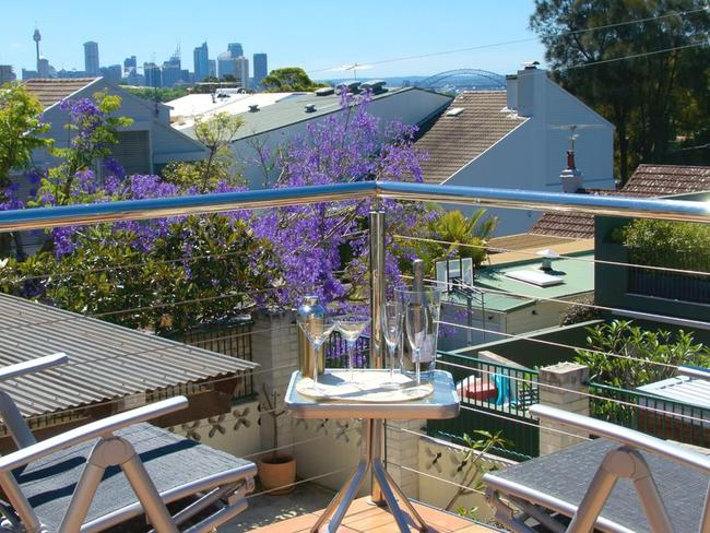 The view from Caroline O'Connor's and Barrie Shaw's home at 27 Edgecliff Rd, Woollahra.