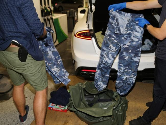 Police found RAAF fatigues in the back of the car. Picture: NSW Police Force
