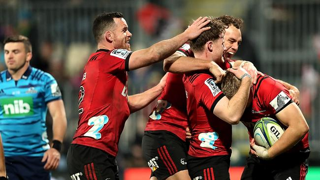 Ryan Crotty, Israel Dagg, Mitchell Drummond and Jack Goodhue celebrate.