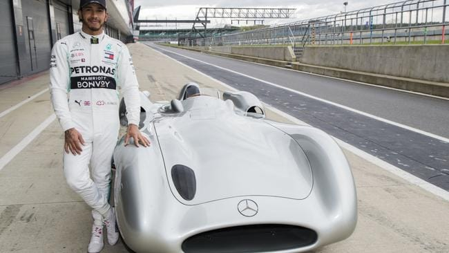 Lewis Hamilton with the Mercedes W196R. Pic: Supplied