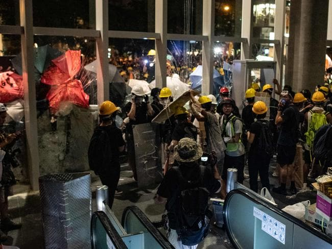 Hundreds of protesters stormed Hong Kong's parliament late on July 1 as the territory marked its China handover anniversary, ransacking the building. Picture: AFP