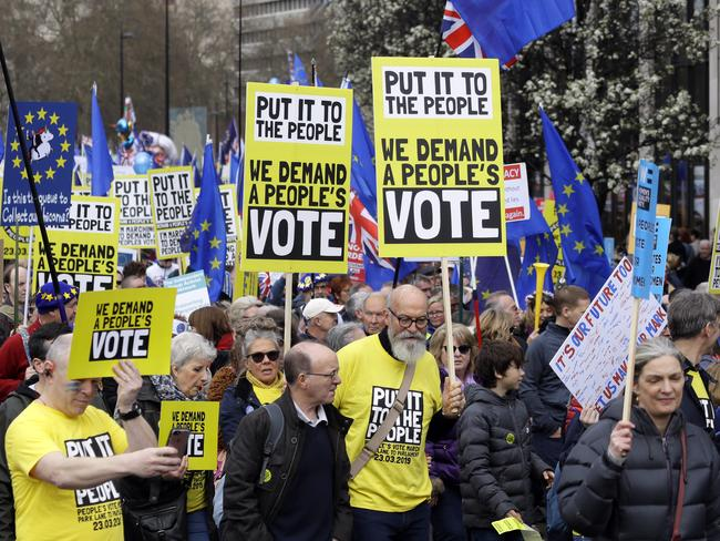 This week the EU has granted Theresa May a delay to the Brexit process and tens of thousands are demanding a new referendum. Picture: AP Photo/Kirsty Wigglesworth