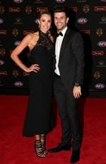 Trent Cotchin of Richmond and Brooke Cotchin on the Brownlow red carpet.
