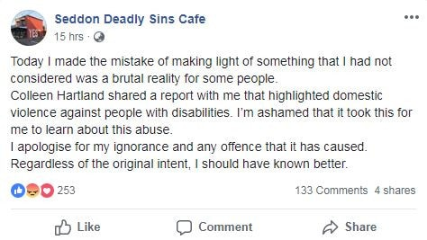The cafe eventually took the post down and apologised for the joke. Picture: Seddon Deadly Sins Cafe