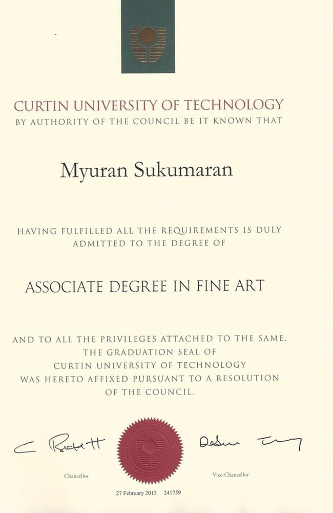 Achievement ... Myuran Sukumaran has received his official Associate Degree in Fine Art from Curtin University. Picture: Supplied