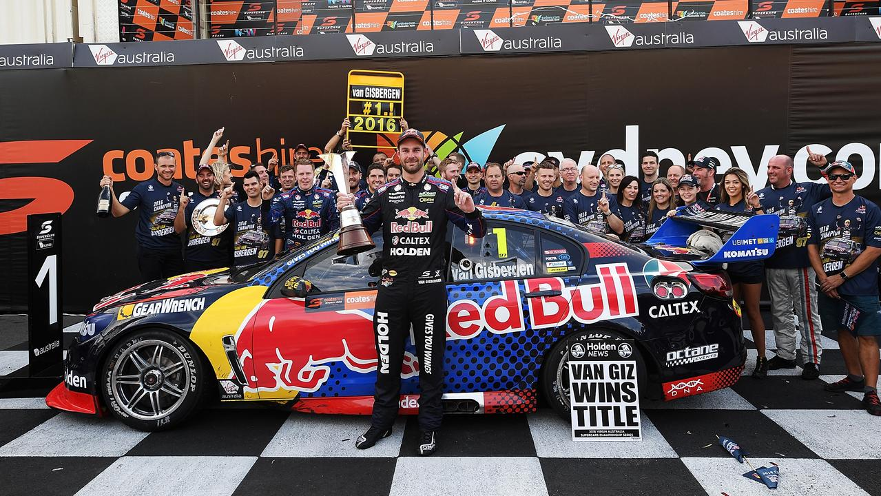 Shane van Gisbergen celebrating his title in 2016.