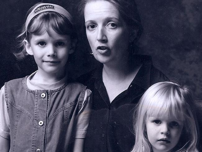 Jane Caro pictured with her young daughters.