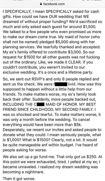 Bridezilla asks for $1500 to fund dream wedding
