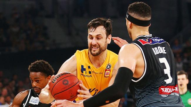 Andrew Bogut was well contained by United. Picture: Getty