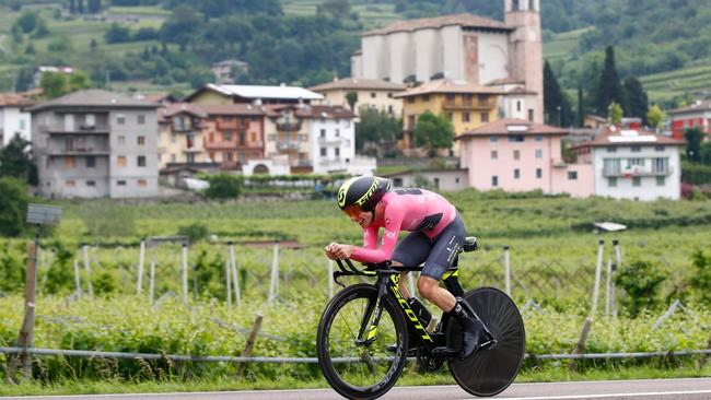 Mitchelton-Scott rider Simon Yates during the Giro d'Italia time trial stage in which he was able to hold his lead. Picture: AFP Photo / Luk Benie