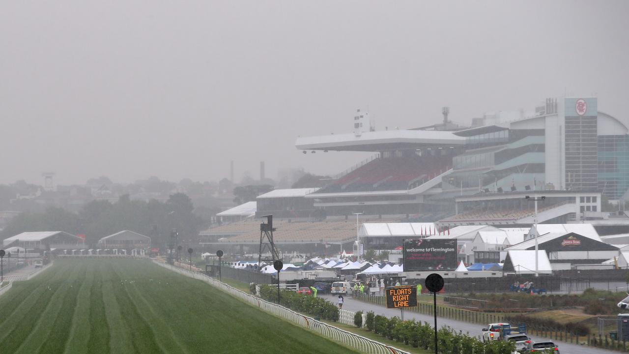 Derby Day 2015 at Flemington Racecourse in Melbourne was a wet one