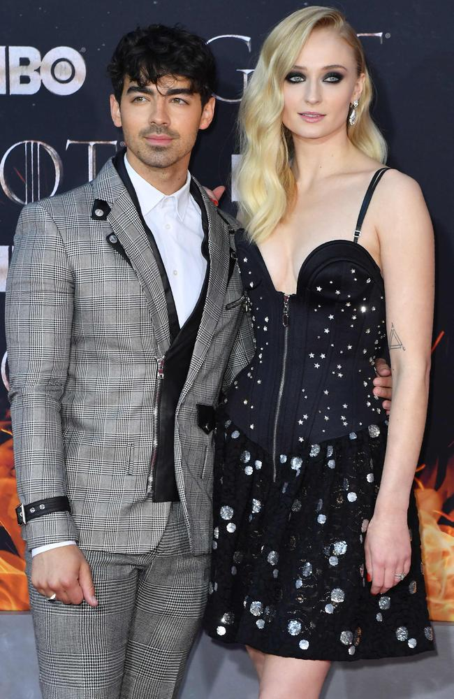 GoT star Sophie Turner, right, with Nick Jonas. Picture: AFP