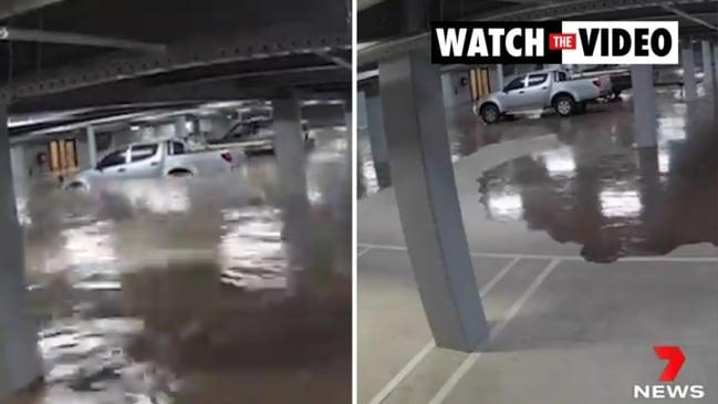 Remarkable parking garage flood in Traralgon (7News)