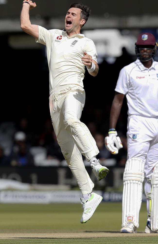 England's James Anderson celebrates taking the wicket of West Indies' Shai Hope.